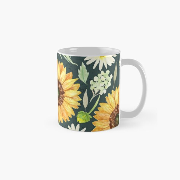 Sunflowers and Daisies   Watercolor   Green   Pattern  Classic Mug