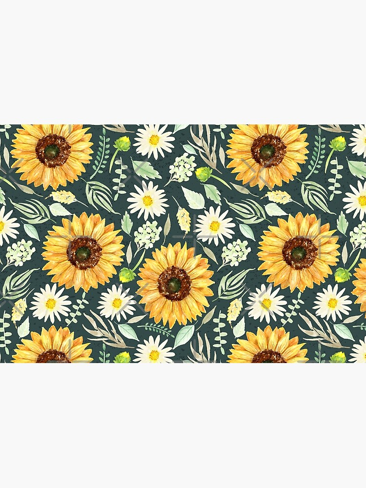 Sunflowers and Daisies | Watercolor | Green | Pattern  by Harpleydesign
