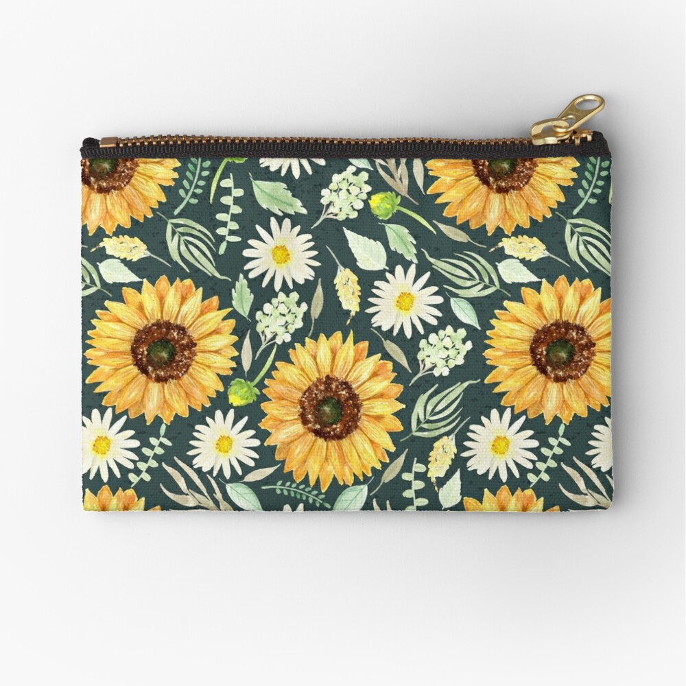 Sunflowers and Daisies | Watercolor | Green | Pattern  Zipper Pouch