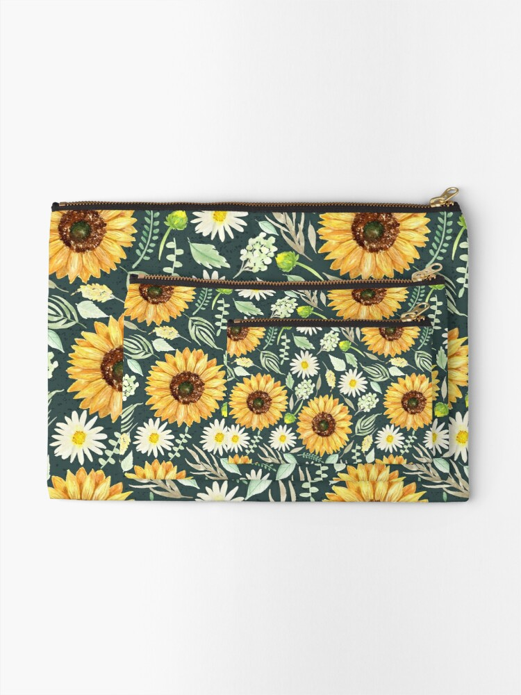 Alternate view of Sunflowers and Daisies | Watercolor | Green | Pattern  Zipper Pouch