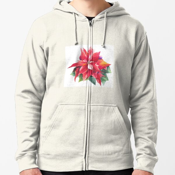 Bright Red Poinsettia Zipped Hoodie