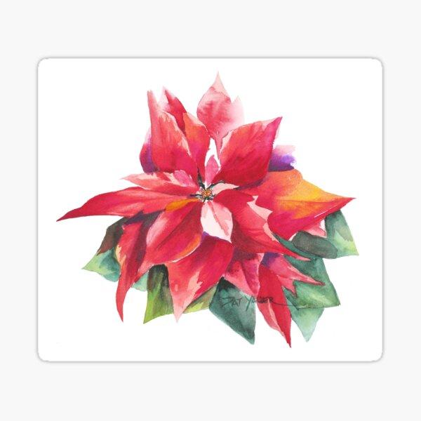 Bright Red Poinsettia Sticker