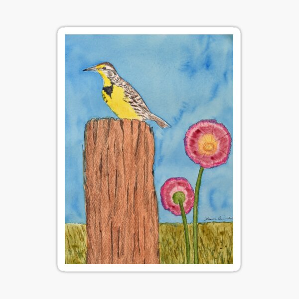 Meadowlark on a Fence Post Sticker