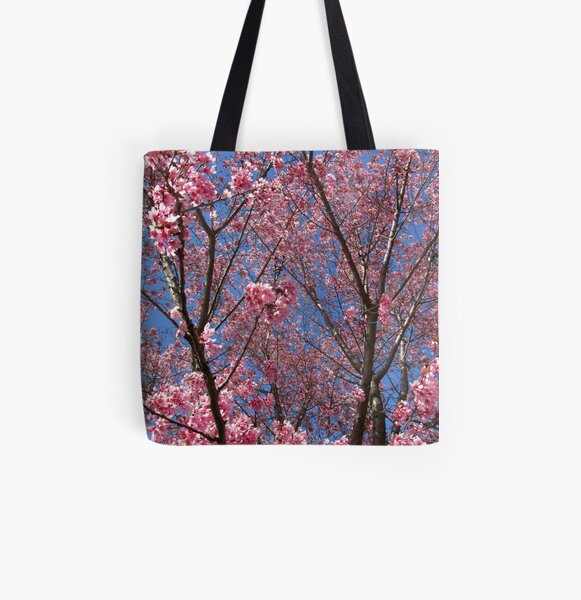 Pink Blossoms All Over Print Tote Bag