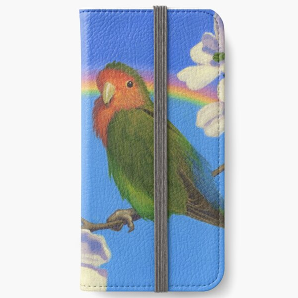 Peach Faced Rainbow - Lovebird - Art by Greg Hildebrandt iPhone Wallet
