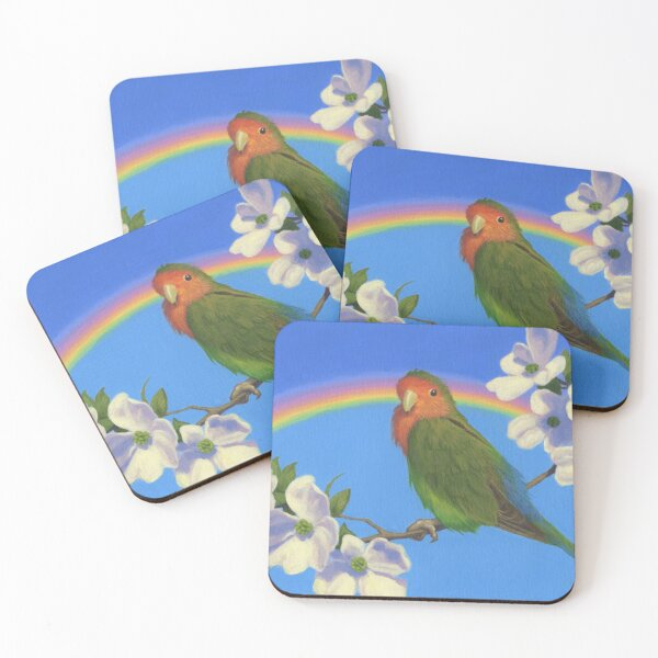 Peach Faced Rainbow - Lovebird - Art by Greg Hildebrandt Coasters (Set of 4)