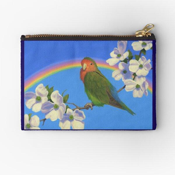 Peach Faced Rainbow - Lovebird Zipper Pouch