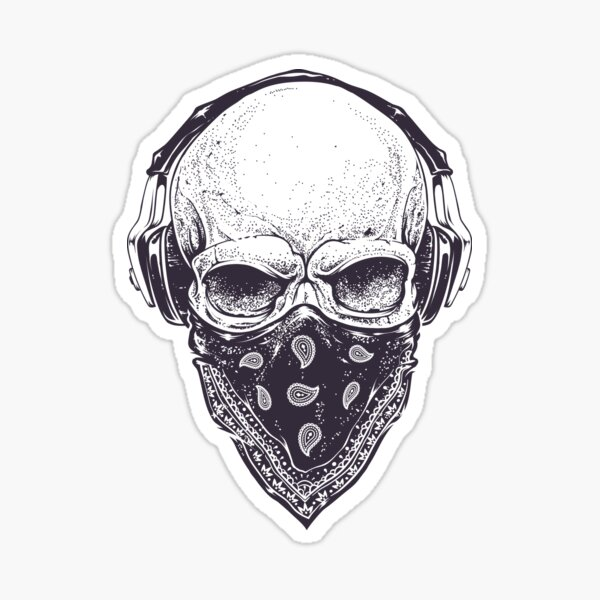 Skull in Headphones Sticker
