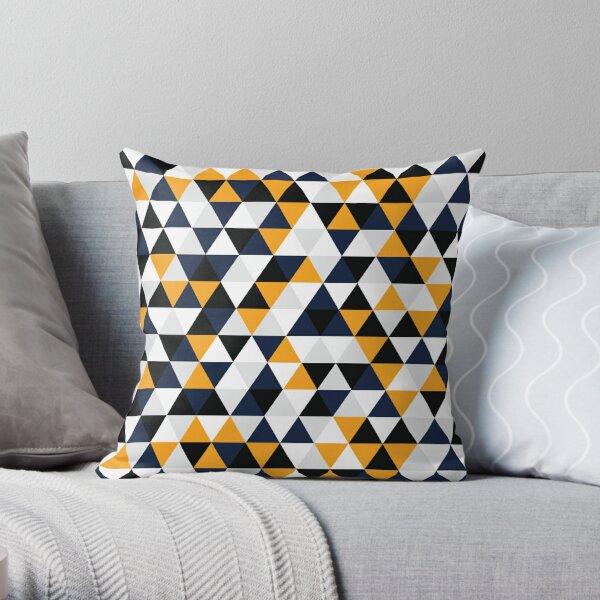 Triangular Pattern 003 - Yellow, Black, Blue, White, Gray Throw Pillow