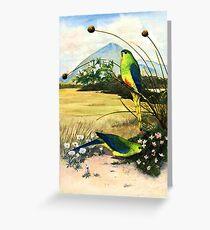Orange Bellied Parrots Greeting Card