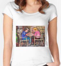 ORIGINAL MONTREAL ART SIDEWALK CAFE BREAKFAST IN THE CITY Women's Fitted Scoop T-Shirt