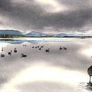 Cloudy lagoon swans by melhillswildart