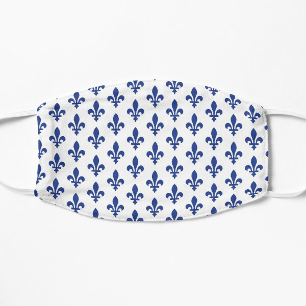 Lily Flower Pattern | Fleur de Lys du Québec | Blue and White Mask