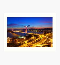 Tsing Ma Bridge at sunset moment in Hong Kong Art Print