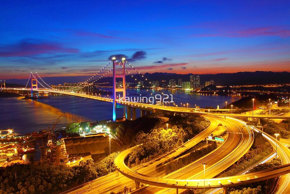 Tsing Ma Bridge at sunset moment in Hong Kong by kawing921