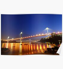 Ting Kau Bridge in Hong Kong at night Poster