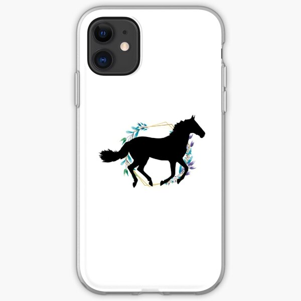 Running horse flowers iPhone Soft Case