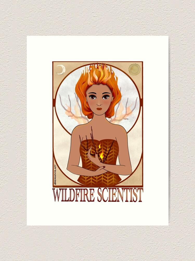 Alternate view of Wildfire Scientist (SciArt Nouveau) Art Print
