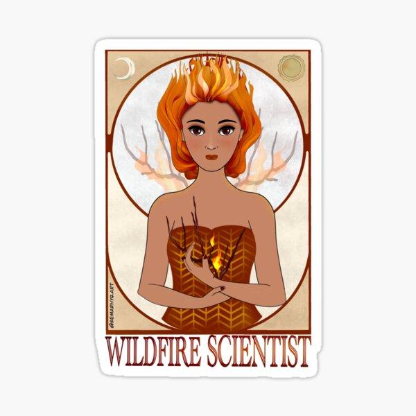 Wildfire Scientist (SciArt Nouveau) Sticker