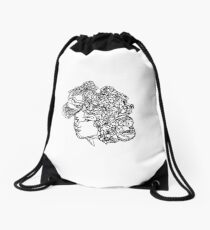 Flowery face Drawstring Bag