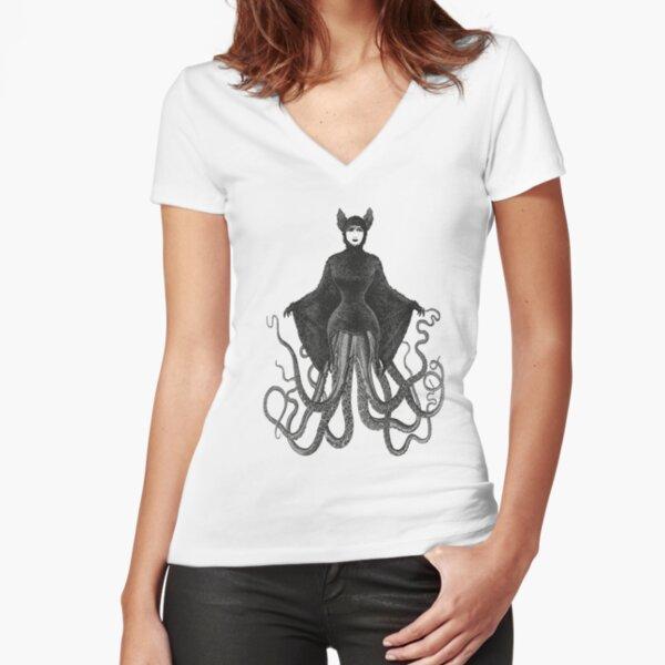 Hybrid Octopus Bat Woman | Hybrids | Hybrid Creatures | Fitted V-Neck T-Shirt