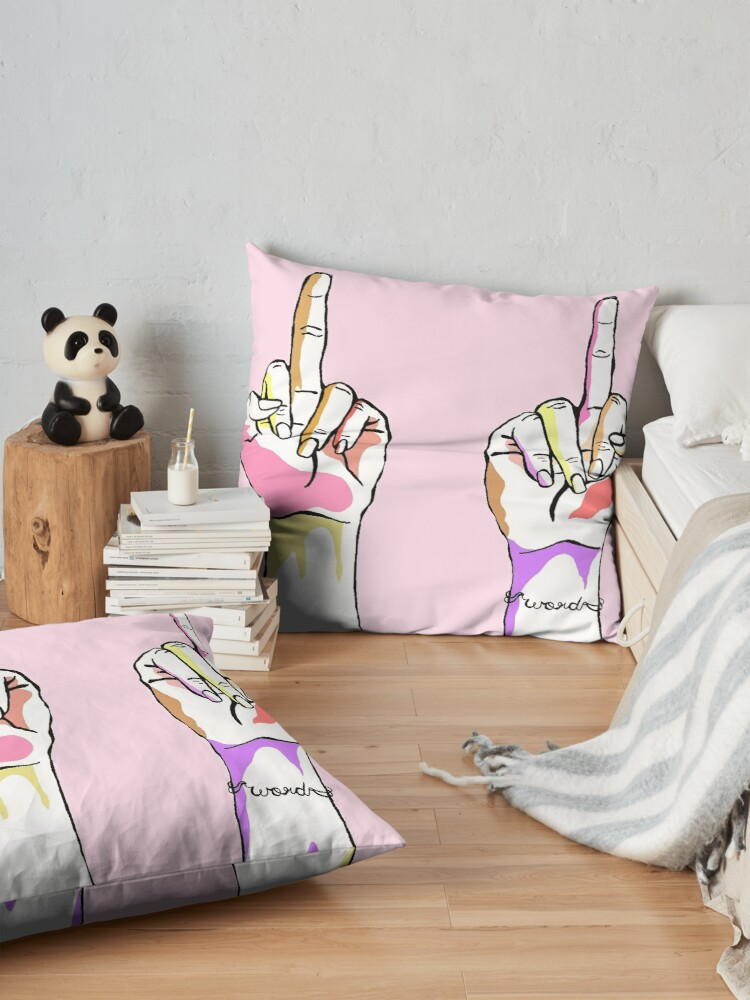 Alternate view of Middle Fingers Up  Floor Pillow