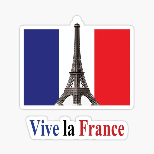Vive la France Flag and Eiffel Tower, RBSSG Sticker
