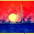 """Red Sunset Sail by Christine """"Xine"""" Segalas"""