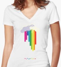 Raining Rainbows Women's Fitted V-Neck T-Shirt