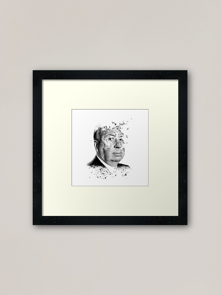 Alternate view of Alfred Hitchcock White Collage by Burro Framed Art Print