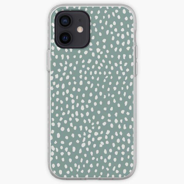 Sea Green Dalmatian Print Mask iPhone Soft Case