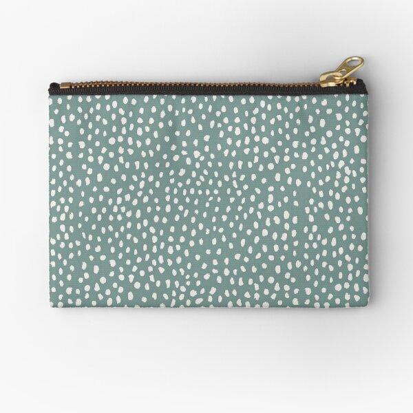 Sea Green Dalmatian Print Mask Zipper Pouch