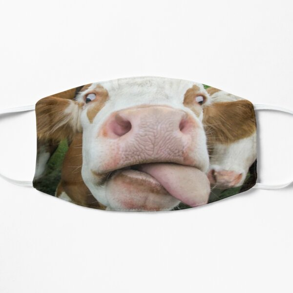 Funny Face Cow Sticking out His Tongue Flat Mask