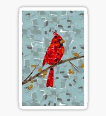Red Cardinal Collage Sticker