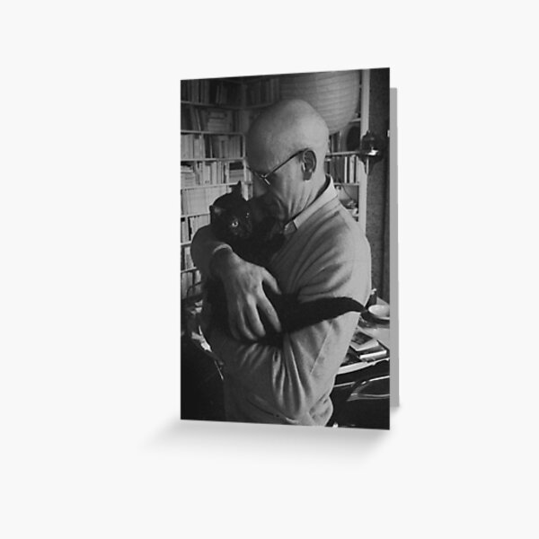 Foucault and a cat Greeting Card