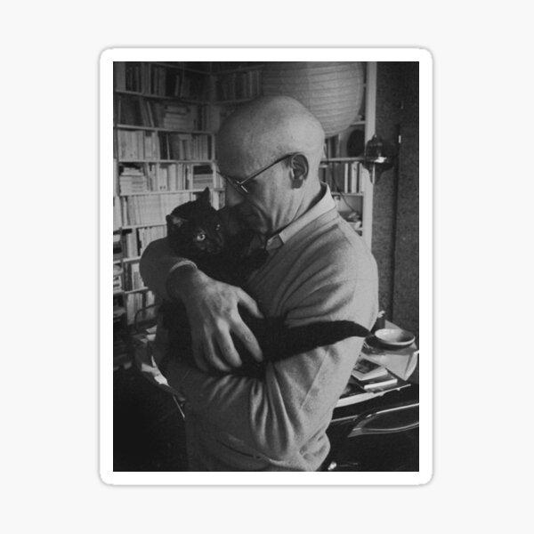 Foucault and a cat Sticker