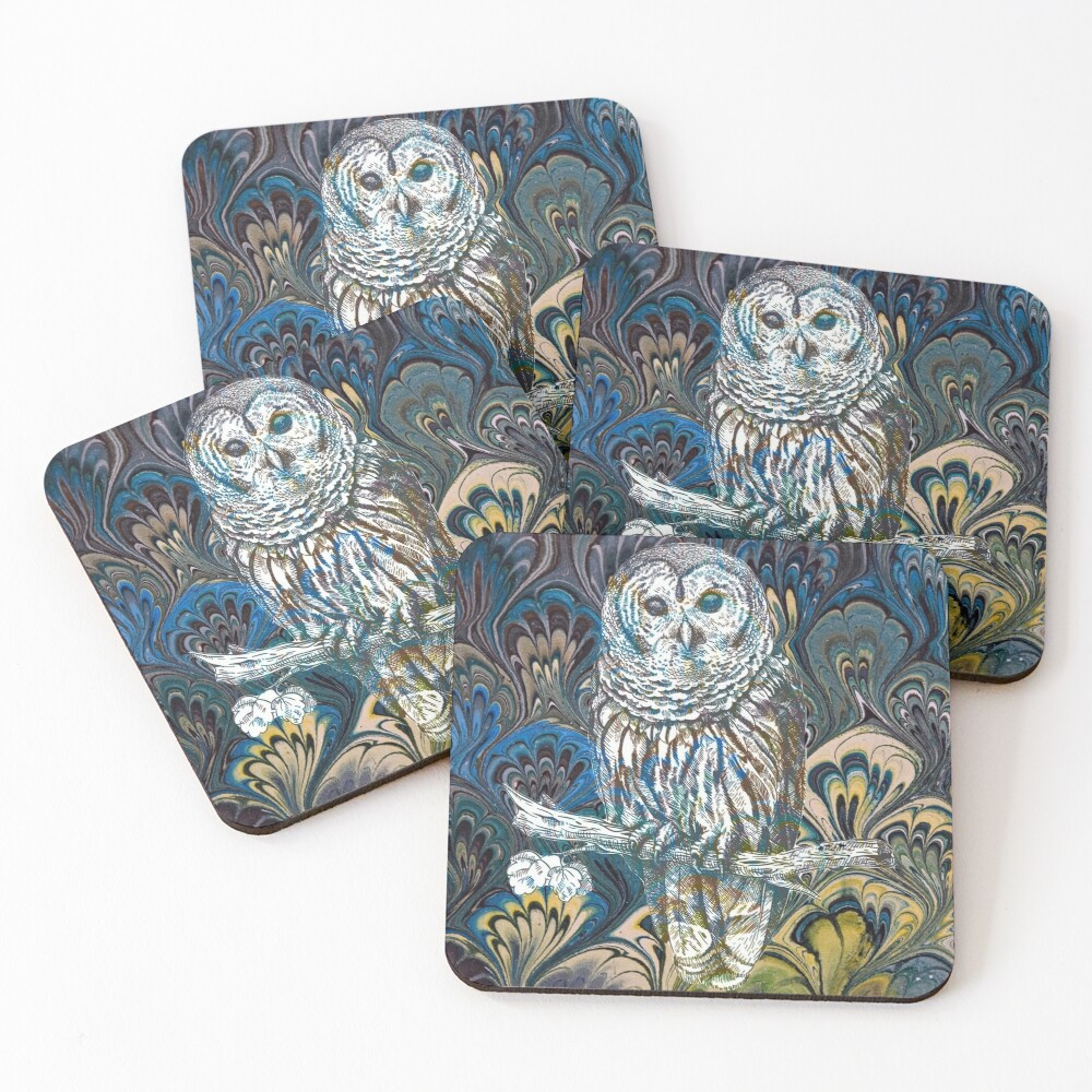 Owl in Blue Coasters (Set of 4)