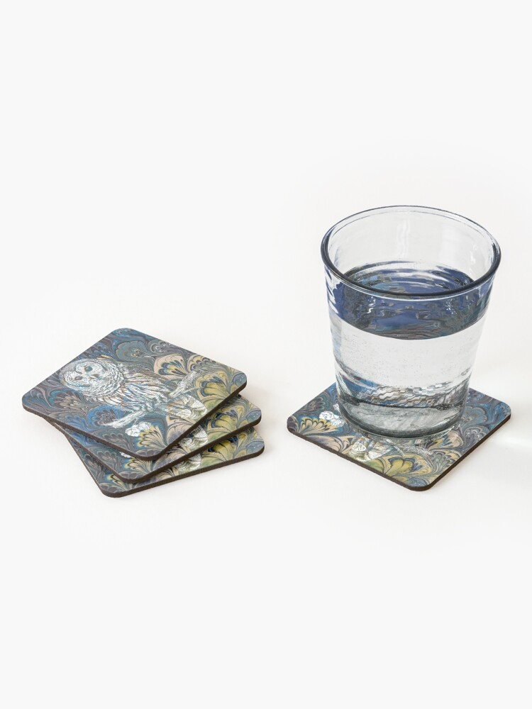 Alternate view of Owl in Blue Coasters (Set of 4)