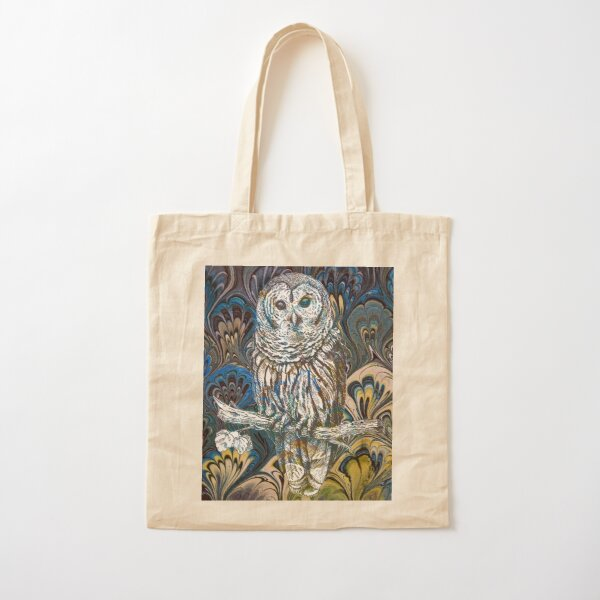 Owl in Blue Cotton Tote Bag