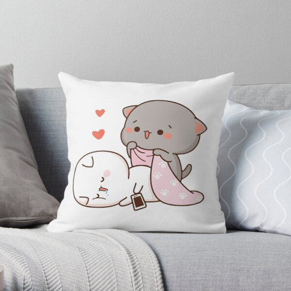 Peach and Goma Mochi Cat Drooling Throw Pillow