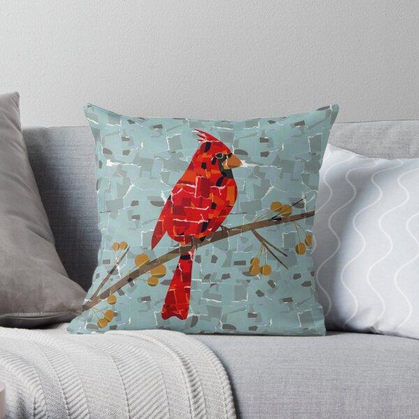 Red Cardinal Collage Throw Pillow