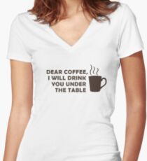 Drinking Coffee Under the Table Women's Fitted V-Neck T-Shirt