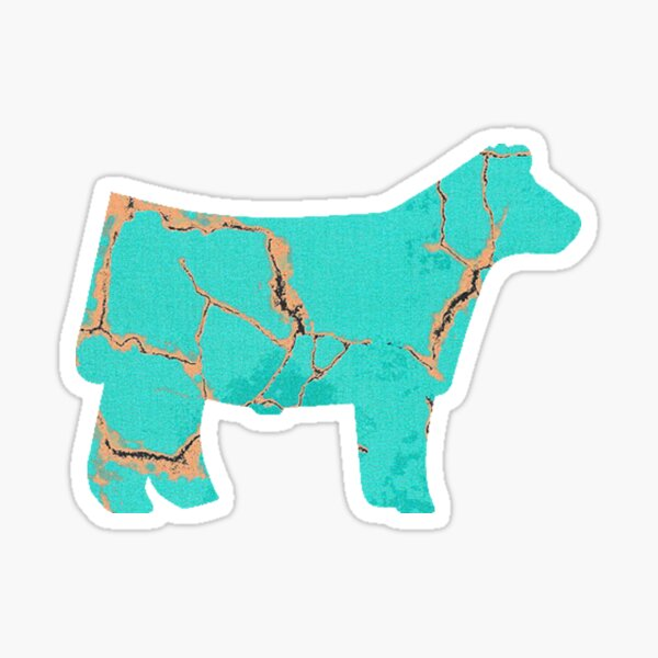 Turquoise Gold Steer Sticker
