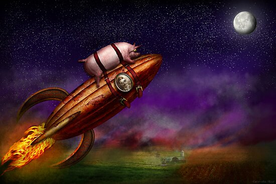 Flying Pig - Rocket - To the moon or bust by Michael Savad
