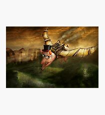 Flying Pig - Steampunk - The flying swine Photographic Print