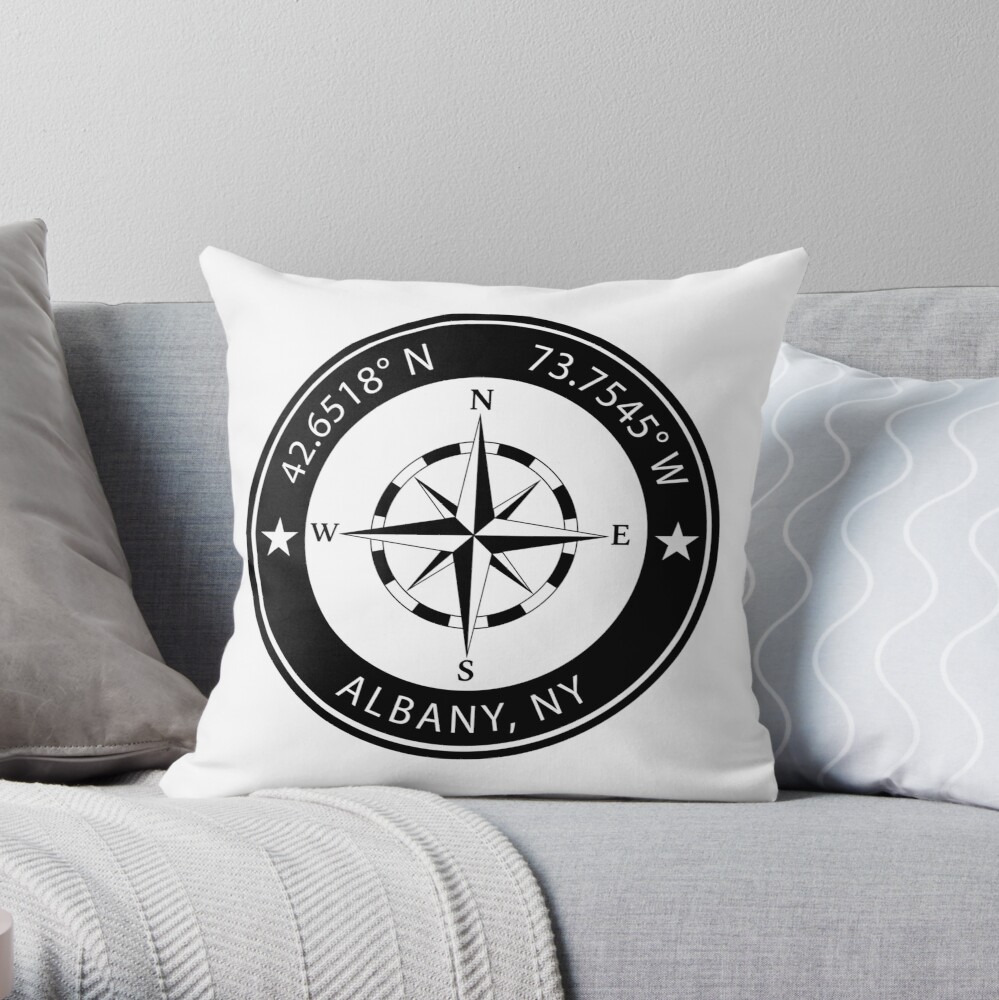 Albany New York Geographical Coordinates Throw Pillow By Teeohgraphics Redbubble