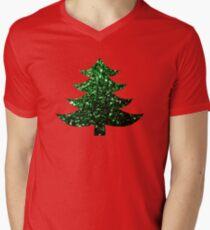 Sparkly Christmas tree green sparkles V-Neck T-Shirt