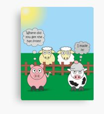 Rudy the Pig & Moody the Cow - Woolly Hat Humour Canvas Print