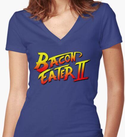 Bacon Eater II  Women's Fitted V-Neck T-Shirt