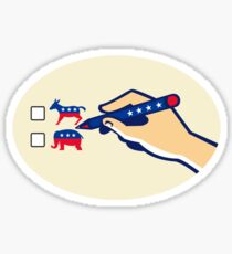 Hand Holding Pen Voting American Election Sticker